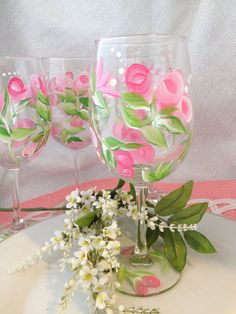 Hand Painted  Wine Glasses Pink Rose Set of 4 by Brusheswithaview, $30.00
