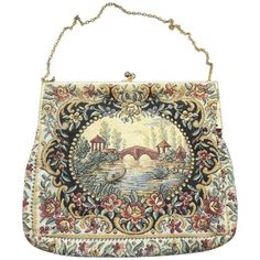 Preowned Vintage 1920s Water Under The Bridge Tapestry ($340) ❤ liked on Polyvore featuring bags, handbags, beige, top handle bags, hand bags, vintage floral purse, floral handbags, man bag and chain handbags