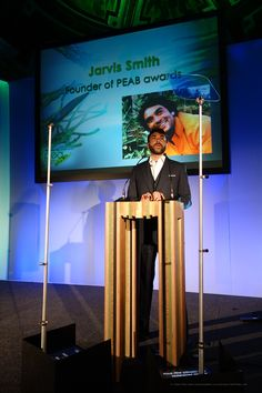Jarvis Smith talking behind the ReCut Milo lectern made from recycled waste wood at the Pea Business Awards.  Designed by Tristan Titeux