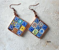 Portugal Antique Azulejo Tile Replica  Earrings  18 by Atrio