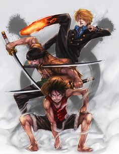 Strawhat Monster Trio: Monkey D. Luffy, Roronoa Zoro, Sanji One Piece Anime One Piece, One Piece ルフィ, One Piece Luffy, Manga Anime, Manga Art, Anime Art, Hot Anime, Monkey D Luffy, Roronoa Zoro