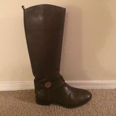 Tory Burch Brown Leather Riding Boots Great condition brown leather riding boots by Tory Burch. Only worn a handful of times. Gold logo on straps. Zips on the side. Runs true to size. No trades. Tory Burch Shoes