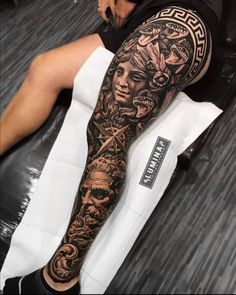 Full Leg Tattoos, Leg Tattoos Women, Cool Forearm Tattoos, Weird Tattoos, Badass Tattoos, Skull Tattoos, Calf Tattoos For Guys, Leg Sleeve Tattoo, Best Sleeve Tattoos