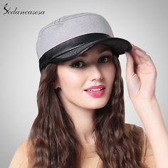 Fashion Casual Women Men Ladies Leather Flat Baseball Cap Patchwork Cotton Wool Female Male Snapback Hat WG015018