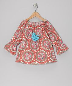 Take a look at this Pink & Coral Medallion Peasant Top - Toddler & Girls by SILLY MILLY on #zulily today!