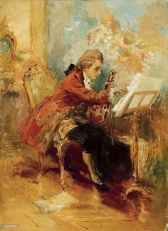 Unknown painter Wolfgang Amadeus Mozart Composing in his Room in Vienna. 19th century
