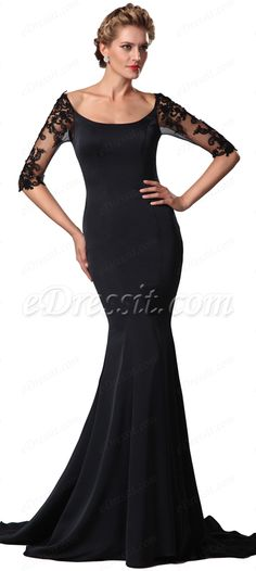 Half lace sleeves mother of the bride dress! #edressit #formal_dress #MOB