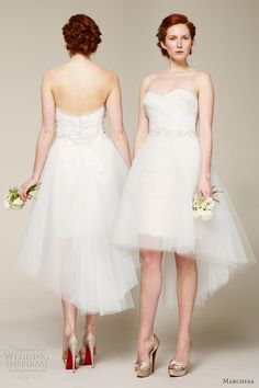 Marchesa spring 2013 short wedding dress...I would wear this more for rehearsal dinner, or beach wedding