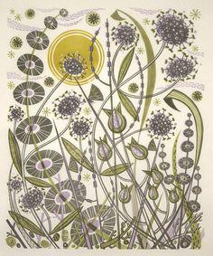 Skye Sun linocut by Angie Lewin Linocut Prints, Art Prints, Floral Prints, Graphic Design Illustration, Illustration Art, Angie Lewin, Collage, Pattern Wallpaper, Letterpress