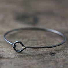 oxidized sterling silver droplet wrapped bracelet - sometimes simple is Metal Jewelry, Jewelry Art, Silver Jewelry, Jewelry Accessories, Jewelry Design, Silver Ring, Silver Earrings, Simple Bracelets, Bangle Bracelets