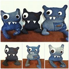 Terrific Cost-Free Another whole new line of hugs ! Handmade from recycled Jeans . Ideas I really like Jeans ! And a lot more I like to sew my very own Jeans. Next Jeans Sew Along I am pl Jean Crafts, Denim Crafts, Upcycled Crafts, Artisanats Denim, Denim Ideas, Monster Dolls, Toy Art, Creation Couture, Cute Monsters
