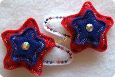 Machine Embroidered Patriotic Stack Star Felt by kreationsforkids, $6.00