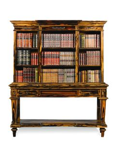 BRITISH COLONIAL, 19TH CENTURY  BOOKCASE ON STAND, Ceylon, Carved Zebrawood (Upper breakfront section above two frieze drawers.)