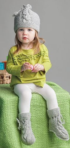 """Knitting Pattern for Miki Hat and Booties - #ad For baby, toddler, and child sizes. Miki means """"small"""" in Inuit, and these cozy boots and cabled hat will keep your littlest ones snug and warm during the chilly season. Cute set in worsted yarn. More pics at Annie's tba"""