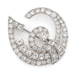 Art Deco Diamond Brooch   Platinum, 61 diamonds ap. 2.90 cts., c. 1930, ap. 4.6 dwt.
