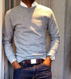 Read on to know about the three different ways men can style their crew neck sweater and look cool this winter. on to know about the three different ways men can style their crew neck sweater and look cool this winter. Mode Masculine, Mode Man, Casual Outfits, Men Casual, Smart Casual Men Jeans, Man Style Casual, Casual Wear, Fashionable Outfits, Herren Outfit