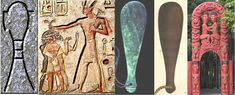 """Left: The """"SA"""" hieroglyph. Next: A relief showing Ramassees II dispensing of his enemies. To his side is seen the SA hieroglyph, below which sits a glyph shaped like a patu club. Next: A typical Maori patu or mere. Next: A Peruvian club that is exactly the same design as a Maori patu, even duplicating the stepped crossing lines adjacent to the wrist-cord hole (See: Antigüedades Peruanas (Peruvian Antiquities) 1850, pg. 212"""