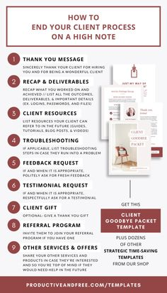 Client Goodbye Packet Template — Productive and Free Business Planning, Business Tips, Online Business, Business Coaching, Business Goals, Business Website, Event Planning, Wedding Planning, Design Thinking
