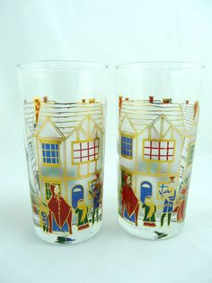 Vtg Set of 2 Culver Christmas Beverage Drinking Glass 22K Gold Accent 12 Ounce  #Culver