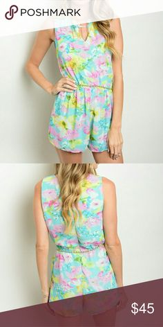 """*SALE* New floral mint romper . Brand new from my boutique  . Model is wearing the exact product  . Fabric content: 100% polyester                Any questions? Don't hesitate to ask  ? Use the """"buy now"""" or """"add to bundle"""" feature to purchase ? Pants Jumpsuits & Rompers"""