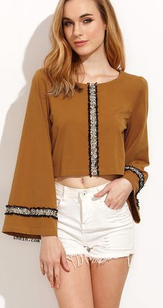 Ethnic autumn-Brown Bell Sleeve T-shirt