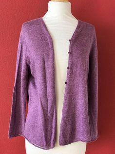 EILEEN FISHER Purple Linen Blend Lightweight Cardigan Sweater Size L #EileenFisher #Cardigan