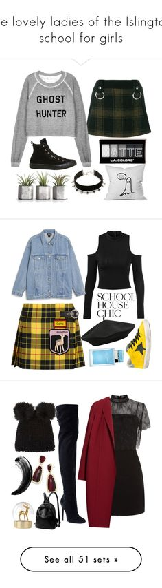 """""""the lovely ladies of the Islington school for girls"""" by jennyjump ❤ liked on Polyvore featuring Alyx, Wildfox, Converse, Vanessa Mooney, Miu Miu, Monki, Golden Goose, M&Co, Dolce&Gabbana and Sandro"""