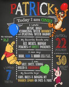 1st Birthday Winnie the Pooh Chalkboard Print by MyThreeCharms