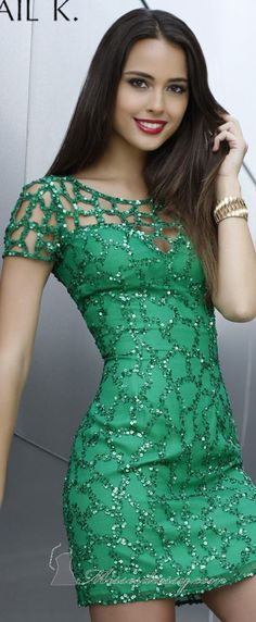 not my favorite color green, but I like the idea, maybe in royal blue? Sweetheart Netted Green Cocktail Dress by Shail K