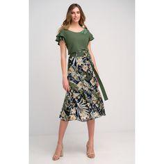 Φούστα εμπριμέ. Waist Skirt, Midi Skirt, High Waisted Skirt, Casual Looks, Two Piece Skirt Set, Skirts, How To Make, Shopping, Vintage