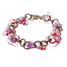 Pulseira c/ contas de vidro em formato de coração aberto- Chain My Heart Bracelet -Fusion Beads Inspiration Gallery