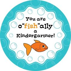 "What better way to welcome a new class of students than to declare them O""fish""al Kindergarteners? Print on sticker paper and your kids will love wearing this design as a badge and showing it off proudly on the playground. Or print on card stock and use them as tags on snack bag of goldfish crackers (my class LOVED this)!Printed 6 to a page for maximum paper saving :)"