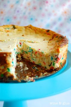Cake Batter Cheesecake from Wine & Glue | Almost as good as licking the beaters!  #cheesecake #cake #batter