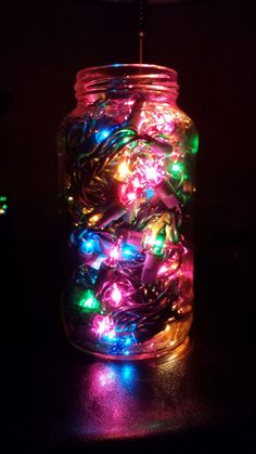 Was actually my boyfriends idea! Took lights and put them in a jar and bam!