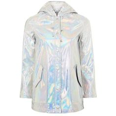 Holographic Rain Mac by Glamorous Petites ($98) ❤ liked on Polyvore featuring outerwear, coats, topshop, hooded coat, hooded rain coat, topshop raincoat and hooded raincoat