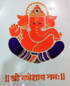 Glass painting of Ganpati bappa