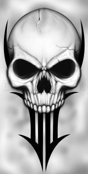 how to draw a traditional skull tattoo. Haha this is a take on a flash design of Shaun Heart. Evil Skull Tattoo, Skull Tattoo Design, Skull Tattoos, Body Art Tattoos, Tattoo Drawings, Cool Drawings, Skull Drawings, Tattoo Art, Arte Cholo