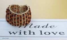 Crochet Bracelet Cuff with Amber Color Beads Amber by gunadesign