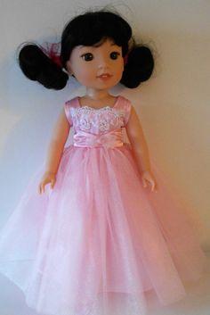 "Pink princess dress fits Wellie Wishers 14 1/2"" dolls"