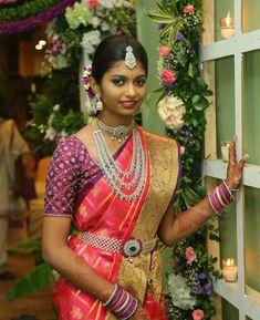Half-saree function for cute Samanvita Beautiful Indian Actress, Beautiful Bride, Beautiful Outfits, Beautiful Clothes, Beautiful Women, South Indian Bride, Indian Bridal, Half Saree Function, Saree Poses
