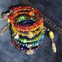 YarnAndBeadsDesign on Etsy Bohemian hippie Gypsy jewelry Diy Crochet Accessories, Bohemian Accessories, Wedding Accessories, Memory Wire Jewelry, Memory Wire Bracelets, Hippie Bohemian, Boho Gypsy, Hippie Bracelets, Beaded Bracelets