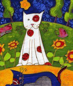 Les chats se reposent par Isabelle Malo •  Acrylique sur toile et collage • Mixed media • Folk art  • www.isamalo.com • Artiste peintre du Québec •Art naïf