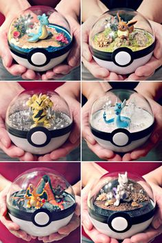 Any Pokemon fan would be thrilled to receive these Pokeball terrariums as a gift! Each of these terrariums feature one of your favorite Pokemon surrounded by its preferred environment, giving you a peek inside of what really goes on in a Pokeball. Pokemon Go, Pokemon Craft, Pokemon Party, Pokemon Diys, Pokemon Fusion, Pokemon Decor, Pokemon Birthday, Pokemon Stuff, Clay Pokemon
