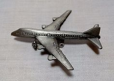 Vntg Pin Brooch AIRPLANE Pewter Silver Tone Jet Signed Detailed Stewardess Pilot
