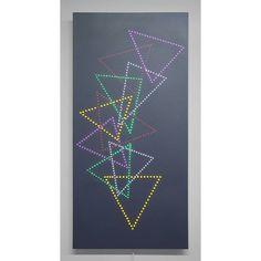 """Triangular Descent""  LEDs, reflective acrylic on sintra 55"" H X 27"" W X 3"" D 2015  #artwithlight #light #contemporaryart #fineart #CarolSalmanson #NewYorkArt #Brooklynartist #Brooklynart #lightart #artwithLEDs #technologyart #LEDs #Glow #vibrant #tech"