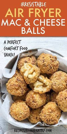Turn holiday leftovers into these amazing air fried mac and cheese balls! Make a healthier version of delicious fried mac n cheese balls in the air fryer. Mac And Cheese Balls Recipe, Cheese Ball Recipes, Appetizer Recipes, Snack Recipes, Appetizers, Oven Recipes, Meat Recipes, Recipies, Air Fryer Dinner Recipes