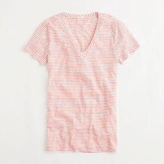 Factory vintage cotton V-neck tee in thin stripe