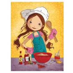 ❥ Baking Party | Illustration Children's Book Illustration, Food Illustrations, Bullet Stickers, Decoupage Paper, Watercolor Animals, Culinary Arts, Cartoon Kids, Painting For Kids, Easy Drawings