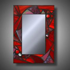Super Funky Red Mosaic Mirror, Stained Glass Accent Mirror, x on Etsy… Stained Glass Mirror, Mirror Mosaic, Stained Glass Projects, Stained Glass Patterns, Mosaic Art, Mosaic Glass, Glass Mirrors, Red Mirror, Mosaics