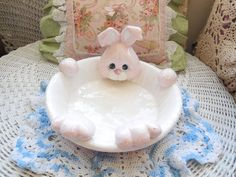 Darling Fun Bunny Rabbit Dish Sweet /On by Daysgonebytreasures
